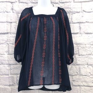 Umgee Size Medium Navy Blue Semi Sheer Top
